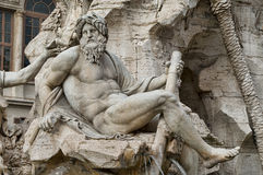 Detail of the Fountain of Four Rivers in Rome, Italy Stock Image