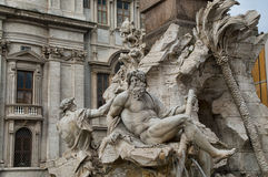 Detail of the Fountain of Four Rivers in Rome, Italy Stock Photos