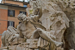 Detail of the Fountain of Four Rivers in Rome, Italy Stock Images