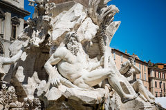 Detail of the Fountain of the Four Rivers Royalty Free Stock Images