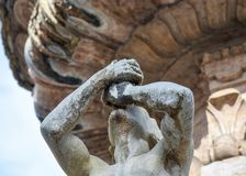 Detail of the fountain of Nettuno in Duomo square, Trento, Trentino Alto Adige, italy. Trento is the beautiful city in the northern italy stock photography
