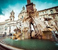 Detail of the Fountain in Piazza Navona Royalty Free Stock Photos