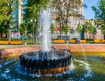 Detail of fountain in Pushkin square Royalty Free Stock Photos