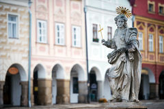Detail of fountain in Telc, Czech republic. Detail of fountain at the main square of Telc, Czech republic - UNESCO world heritage site Royalty Free Stock Photos
