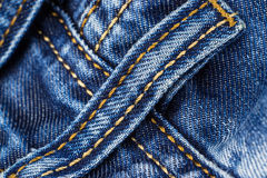 Detail four belt loops on blue jeans Royalty Free Stock Images
