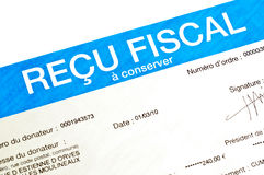 Detail of a French anonymous receipt for donations. Deductible from income tax (recu fiscal = fiscal receipt Stock Image