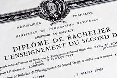 Detail of french baccalaureat diploma Stock Photo