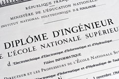 Detail of french engineer diploma Stock Images