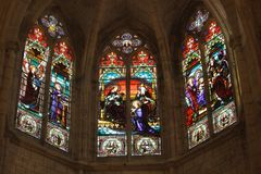 Detail of french gothic church. Notre dame d'Uzeste with 19th century stained glasses, France Stock Photo