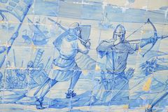 Detail of a fresco of azulejos in Portugal stock images