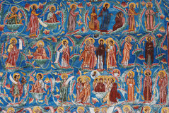 Detail of a fresco, painted church, Sucevita, Bucovina, Romania Stock Image