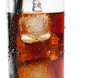 Detail of fresh coke with black straw, summer time Stock Image