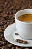 Detail of a fresh espresso at roasted coffee beans. Detail of a fresh espresso in a white cup at roasted coffee beans Royalty Free Stock Photo