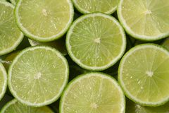Detail of fresh green limes.  Stock Image