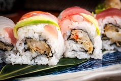 Detail of fresh and healty sushi rolls Royalty Free Stock Photo