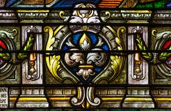 Detail From Colorful Stained Glass Window In St Louis Cathedral Royalty Free Stock Photos