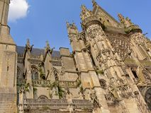 Architecture detail of the cathedral of our Lady, Senlis, Picardy, France royalty free stock photography