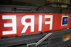 Detail of the front of a fire engine Royalty Free Stock Photo