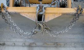 Detail of a front loader bucket or scoop. Royalty Free Stock Photography