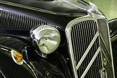 Detail of front mask and front light of Citroen Traction Avant 11B dated to 1934, on Car Expo in Nitra. Slovakia as part of veterans exposition, october 2018 stock image
