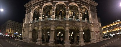 The opera of Vienna by night. Detail of front of the Opera in Vienna, Austria. Night shoot royalty free stock images