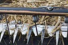 Detail of front part of combine harvester Stock Photo