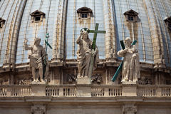 Detail of the front of St Peters basilica Stock Photography