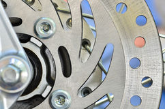 Detail of the front wheel of a motorcycle Royalty Free Stock Image