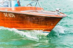 Detail of the front of a wooden boat. On the Grand Canal of Venice royalty free stock photo