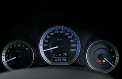 Detail with the fuel gauges showing and empty tank on dashboard Royalty Free Stock Images