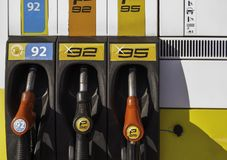 Detail fuel pump at auto gas station, close up.  royalty free stock image