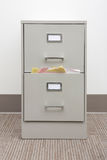 Detail of a full filing cabinet with blank drawer Stock Photo