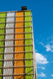 Detail of Futuristic Colorful Building Facade. At Exposition in Milan - Italy Stock Photos