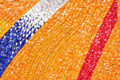 Detail of the futuristic colorful mosaic, architectural element Stock Photo