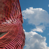 Detail of Futuristic Megastructure: Curve Red Building Facade Royalty Free Stock Photo