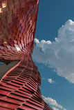 Detail of Futuristic Megastructure: Curve Red Building Facade Stock Images
