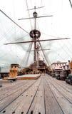 Detail of Galeone Neptune ship. Tourist attraction in Genoa, Italy stock photo