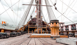 Detail of Galeone Neptune ship. Tourist attraction in Genoa, Italy royalty free stock photo