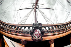 Detail of Galeone Neptune ship. Tourist attraction in Genoa, Italy stock images