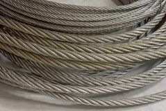 Detail of a galvanized wire rope. On neutral backgrownd Stock Photography