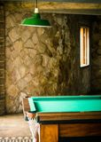 Detail of games room with snooker billiards table Royalty Free Stock Photos