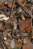 Detail of garbage on the ground Royalty Free Stock Photography