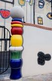 A detail of the garbage processing plant in Vienna. VIENNA, AUSTRIA - DECEMBER 4: decoration detail of the garbage processing plant by Hundertwasser on December stock photo