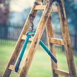 Detail of Gardening Secateurs Hang Up on a Gardening Ladder. (vintage style Royalty Free Stock Images