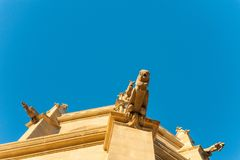 Detail of gargoyles in modernist style of Basilic of Santa Maria Seu in Manresa city in catalunya region in Spain with clear blu. Ancient church at sunset in stock images