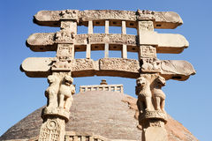 Detail of the gate at Great Buddhist Stupa in Sanchi Stock Images