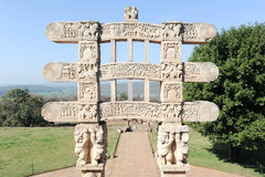 Detail of the gate at Great Buddhist Stupa in Sanchi Royalty Free Stock Image