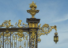 Detail of the gate at Stanislas Square in Nancy. Artfully wrought iron fencing at Stanislas Square (Place Stanislas).  Nancy, Lorraine, France Royalty Free Stock Photography