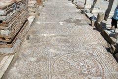 Detail of geometric mosaic walk Stock Images