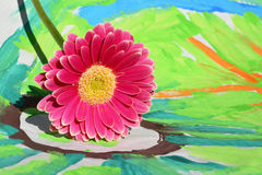 Detail of gerber daisy on a colorful child painting ,gift for Mothers day or birthday present Stock Image